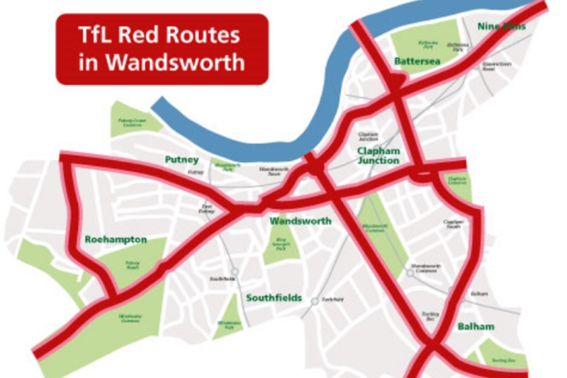 A map of Wandsworth red routes